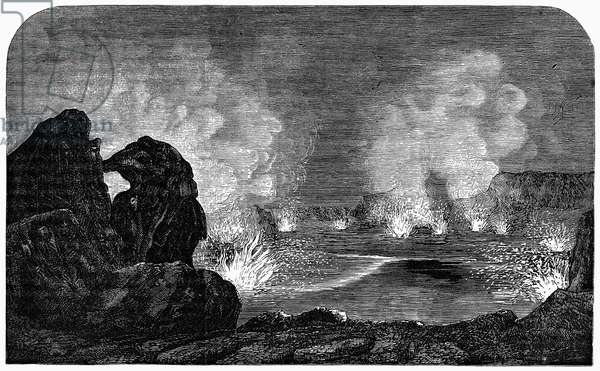 HAWAII: VOLCANO, 1875 A night scene in the crater of the volcano of Kilauea, Hawaii. Line engraving, 1875.