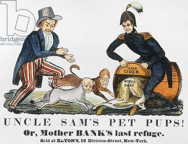 CARTOON: UNCLE SAM, 1840 'Uncle Sam's Pet Pups!' One of the earliest cartoon appearances of Uncle Sam and showing him chasing Andrew Jackson and Martin Van Buren into the hard cider barrel held by presidential candidate W.H. Harrison. Cartoon, 1840.