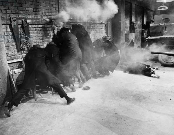 ST. VALENTINE'S MASSACRE Gang members being gunned down. Scene from the film, 'The St. Valentine's Day Massacre,' 1967.