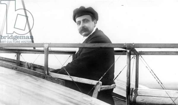 LOUIS BLERIOT (1872-1936) French engineer and pioneer aviator. Bleriot seated in his monoplane, n.d.