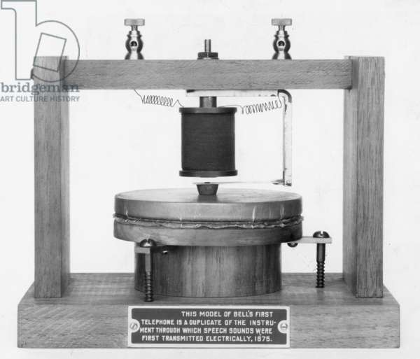 FIRST TELEPHONE, 1875 Model of Alexander Graham Bell's first telephone through which speech sounds were first transmitted electrically.