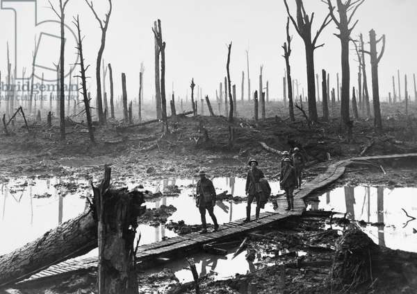 WWI: PASSCHENDAELE, 1917 Australian troops walking along duckboards through the remains of Chateau Wood, during the Battle of Passchendaele in Belgium. Photograph, 29 October 1917.