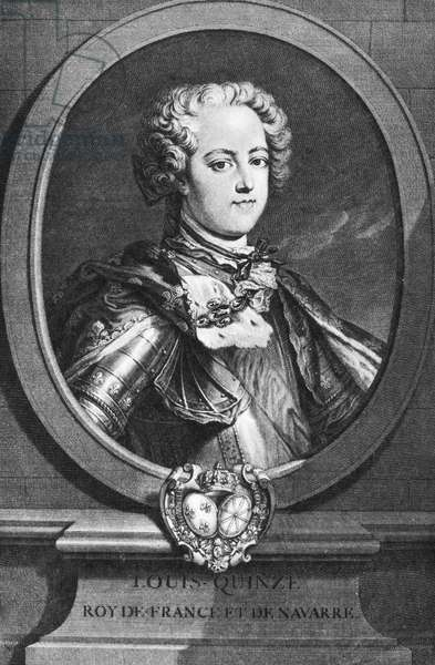 LOUIS XV (1710-1774) King of France, 1715-1774. Copper engraving, 18th century, after a painting by Louis Michel Van Loo.