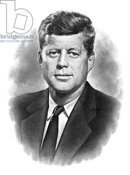 JOHN F. KENNEDY (1917-1963) 35th President of the United States. Steel engraving.