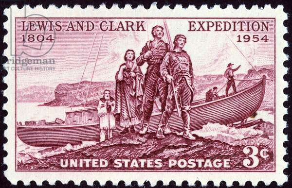 LEWIS & CLARK STAMP, 1954 The Lewis and Clark Expedition of 1804-1806 commemorated on a U.S. postage stamp, 1954.