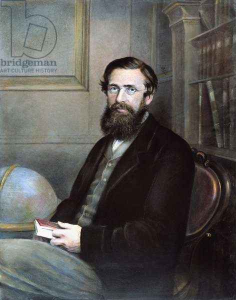 ALFRED RUSSEL WALLACE (1823-1913). English naturalist. Oil over a photograph, c.1865.