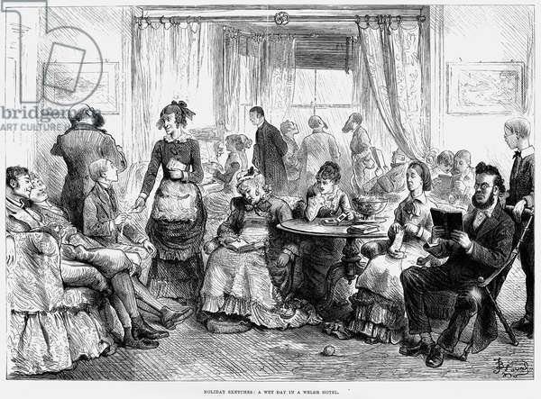 RAINY DAY AT RESORT, 1879 Bored vacationers in the parlor of a seaside hotel in Wales, Great Britain . Wood engraving, English, 1879.