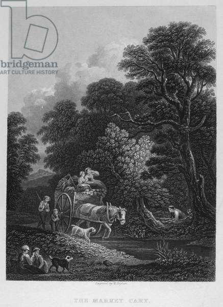 ENGLAND: MARKET CART Steel engraving, 19th century, after the painting by Thomas Gainsborough (1727-1788).