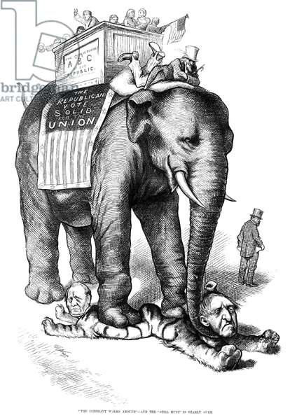 "NAST: ELECTION, 1876 '""The Elephant Walks Around"" - And the ""Still Hunt"" is Nearly Over.' Cartoon by Thomas Nast, 1876, showing the Republican party trampling the Democratic candidates Samuel J. Tilden (right) and Thomas Hendricks (left), while John Morrissey walks away."