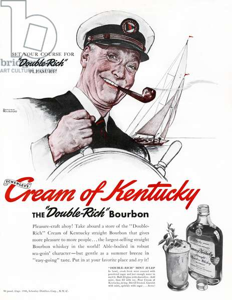 AD: BOURBON, 1940 American advertisement for Cream of Kentucky Bourbon. Illustration, 1940.