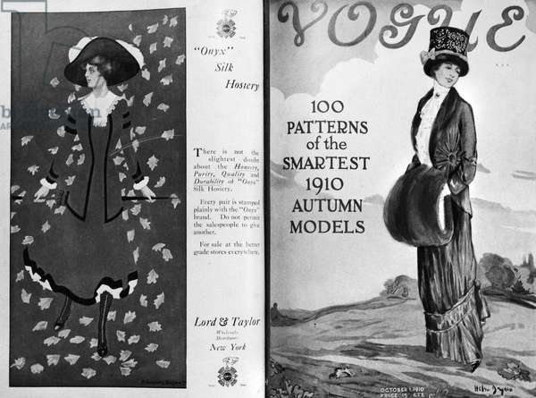 VOGUE MAGAZINE, 1910 Cover of the 1 October 1910 issue of 'Vogue' magazine, featuring an illustration by Helen Dryden (right), and a contemporary fashion advertisement for Lord & Taylor department store in New York City.