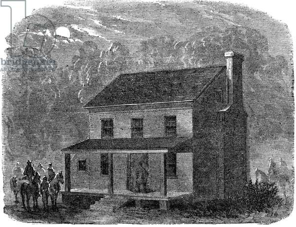 JOHN WILKES BOOTH (1838-1865). American actor and assassin of President Abraham Lincoln. The farmhouse belonging to Richard H. Garrett, near Bowling Green, Virginia, where Booth died several hours after his capture on 26 April 1865. Contemporary wood engraving.