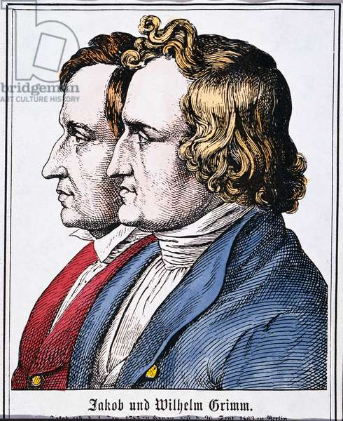 JACOB AND WILHELM GRIMM Jacob (1785-1863) and Wilhelm (1786-1859) Grimm. German philologists and folklorists. coloured  German engraving, 19th century.