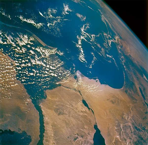EARTH FROM SPACE, 1965 The Mediterranean Sea and surrounding area, as seen from the Gemini VII spacecraft. Photographed by Frank Borman and James A. Lovell, 1965.