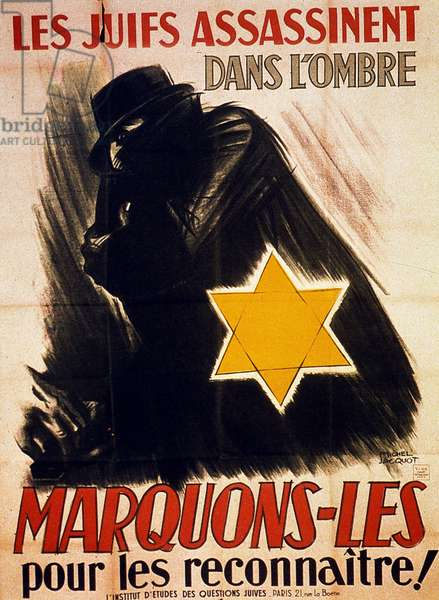 'Jews Kill in the Shadows, Mark Them to Recognize Them', c.1942 (colour litho)