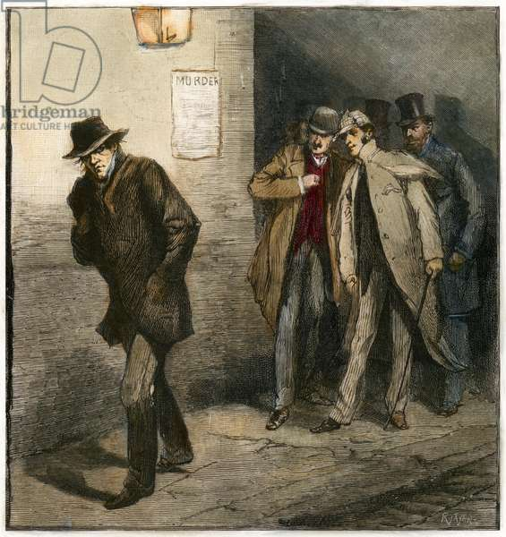 JACK THE RIPPER Members of the Vigilance Committee scrutinize a suspicious looking man in London's East End as part of the city's effort to catch Jack the Ripper. Wood engraving from an English newspaper of 1888.