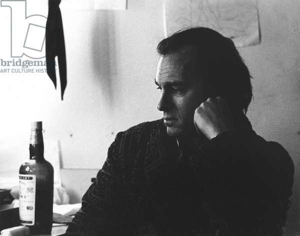 RIP TORN (1931-) American actor Rip Torn has a somber moment in his dressing room before a performance on Broadway in 1969.