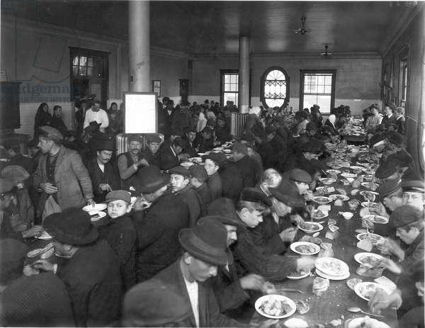ELLIS ISLAND DINING HALL Photograph, c.1900.