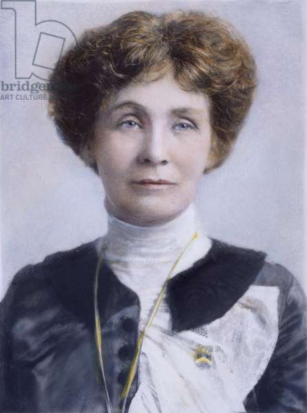 EMMELINE PANKHURST (1858-1928). English suffragist. Oil over a photograph.