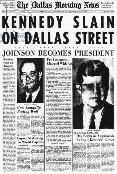 KENNEDY ASSASSINATION, 1963. The banner headline of the 'The Dallas Morning News' on 23 November 1963 announcing the assassination of President Kennedy.