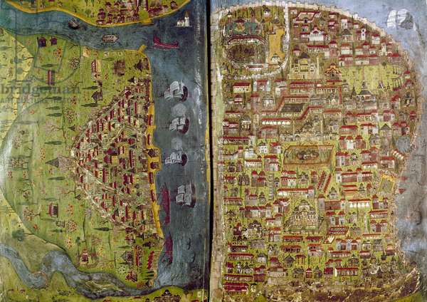 TURKEY: MAP, 16th CENTURY Painted map of Istanbul and suburbs, Galata, during the reign of Suleiman the Magnificent, 1520-1566.