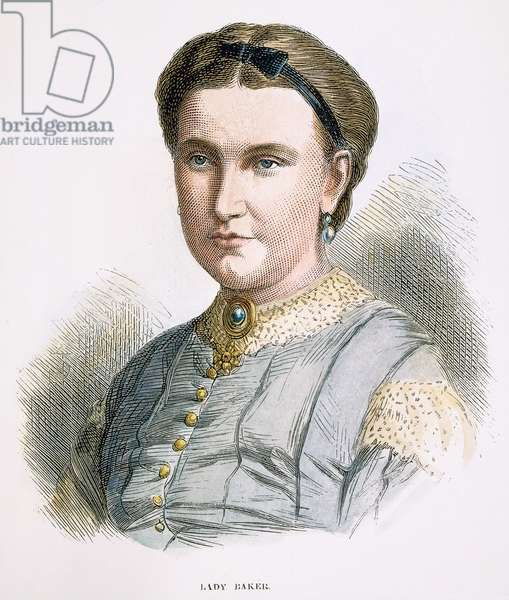 LADY FLORENCE BAKER (fl. 1860-1873). Née von Sass. Hungarian traveler and wife of Sir Samuel White Baker. Wood engraving, English, 1873.