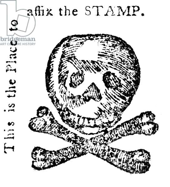 STAMP ACT: CARTOON, 1765 Anti-Stamp Act woodcut from the 'Pennsylvania Journal,' 1765.