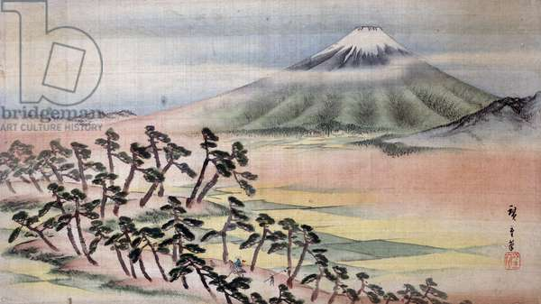 HIROSHIGE: MOUNT FUJI View of Mount Fuji in Japan. Painting on silk by Ando Hiroshige, early 19th century.
