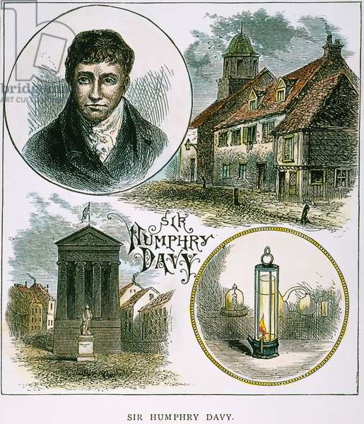 HUMPHRY DAVY (1778-1829) English chemist, pictured with, bottom right, the miner's safety lamp he invented in 1815. Wood engraving, 19th century.
