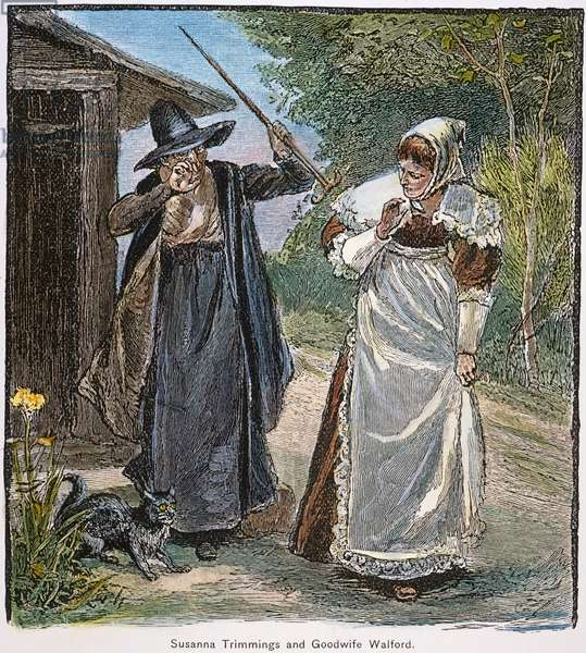 GOODWIFE WALFORD, 1692 Goodwife Walford accused of witchcraft in Puritan New England. American engraving, 19th century.