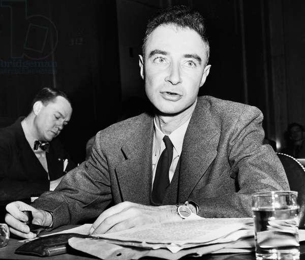 J. ROBERT OPPENHEIMER (1904-1967). American physicist. Photographed 1945.