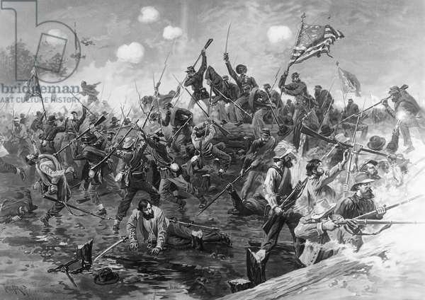 CIVIL WAR: SPOTSYLVANIA The Battle of Spotsylvania, Virginia, 8-18 May 1864. Lithograph, 1887, after Thure Thulstrup.