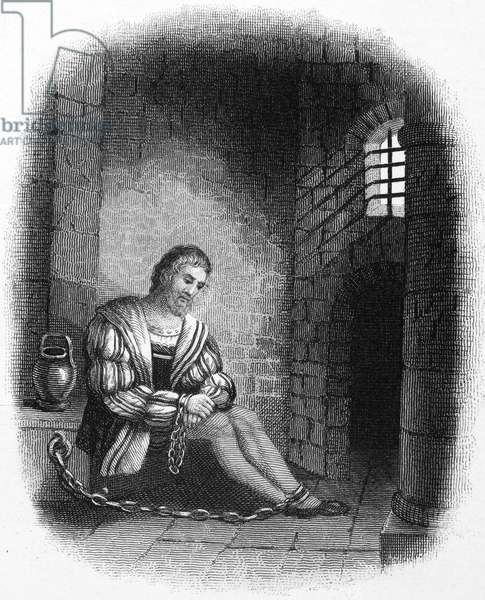 CHRISTOPHER COLUMBUS (1451-1506). Italian navigator. Christopher Columbus in a Spanish prison, his hands shackled, following his arrest at Santo Domingo in 1500 by Francisco de Bobadillo. Engraving, 1800s.