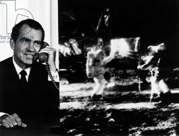 APOLLO 11, 1969 Composite photograph of President Richard M. Nixon as he telephoned the Apollo 11 astronauts Neil Armstrong and Edwin