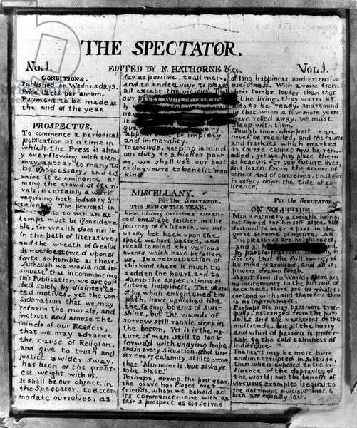 NATHANIEL HAWTHORNE (1804-1864). American writer. Manuscript page of 'The Spectator,' a newspaper written by Hawthorne in his youth, 1820.
