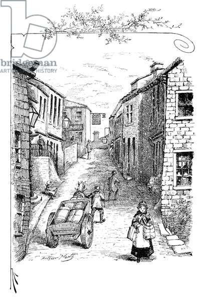 HAWORTH, YORKSHIRE Main Street, Haworth, Yorkshire, as it appeared in the time of the Brontës.