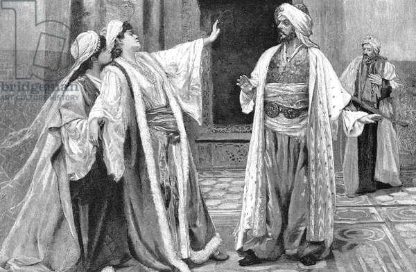 SULEIMAN THE MAGNIFICENT ( c.1494-1566). Sultan of the Ottoman Empire, 1520-1566. Suleiman's consort Khurrem (center) demanding that he put to death his Grand Vizier, Ilderim (far right). Line engraving, American, 1901.