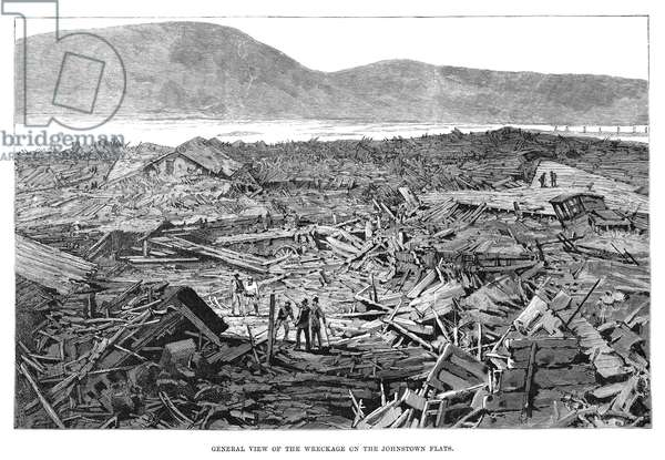 JOHNSTOWN FLOOD, 1889 'General view of the wreckage on the Johnstown flats.' Engraving, 1889.