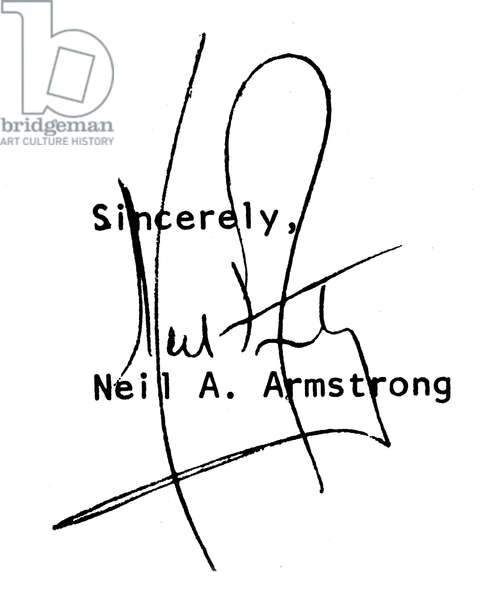NEIL ARMSTRONG (1930- ) American astronaut. Autograph signature.