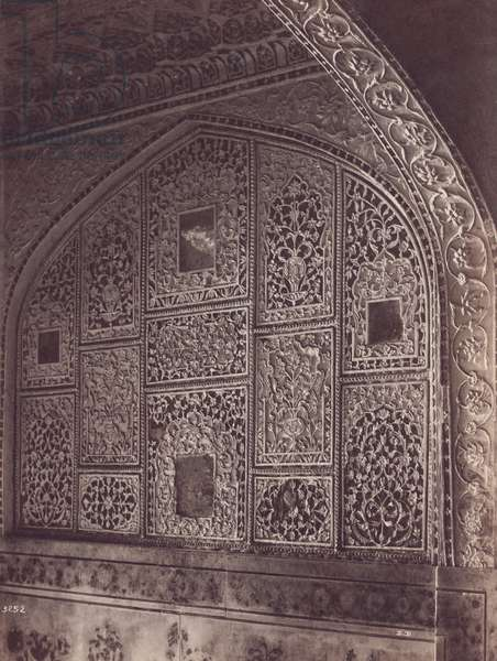 INDIA: MARBLE CARVING Indian marble decorative carving. Photograph, c.1890.