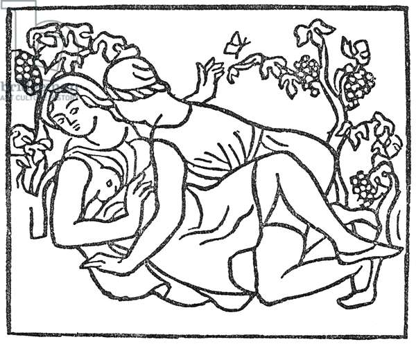 DAPHNIS AND CHLOE Woodcut by Aristide Maillol, 1938.