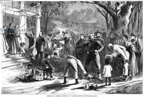 EMANCIPATION, 1863 'Arrival of a Federal column at a planter's house in Dixie.' Slaves on a southern plantation rejoice as Union troops arrive to enforce the Emancipation Proclamation. Wood engraving, American, 1863, after Thomas Nast.
