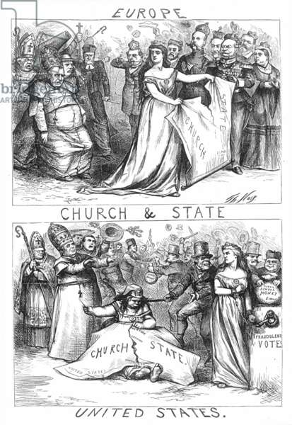 CHURCH/STATE CARTOON, 1870 One of Thomas Nast's vitriolic comments on the separation between Church (i.e., the Roman Catholic church) and State: wood engraving, 1870.