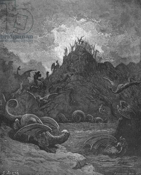 MILTON: PARADISE LOST The River Lethe. Wood engraving after Gustave Dore for John Milton's 'Paradise Lost.'