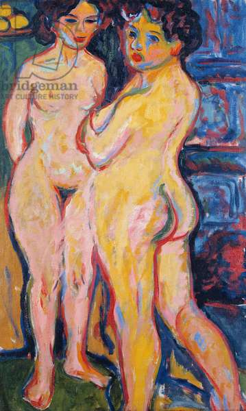 KIRCHNER: NUDE STANDING 'Nude Standing by Stove.' Painting, Ernst Ludwig Kirchner, 1908.
