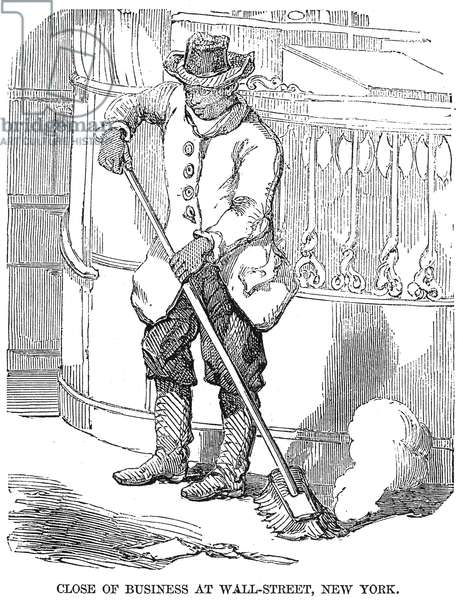 NEGRO PORTER, 19th CENTURY 'Close of Business at Wall Street, New York.' An African American porter in New York (Wall Street). Wood engraving, English, 19th century.
