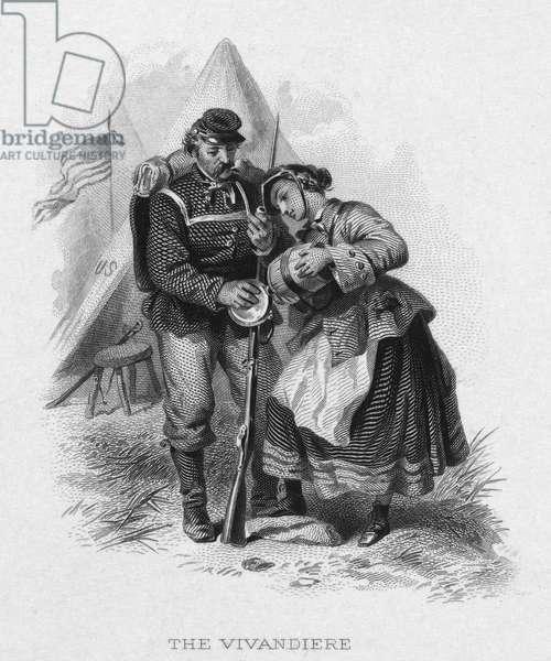 CIVIL WAR: SOLDIER 'The Vivanderie.' Steel engraving, American, 19th century.