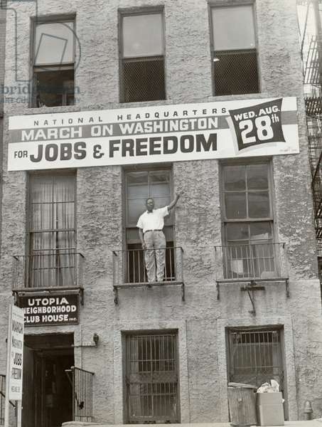 CLEVELAND ROBINSON (1914-1995). American labor leader and civil rights activist. On the second floor of the National Headquarters of the March on Washington in Harlem, New York. Photograph by Orlando Fernandez, 1963.