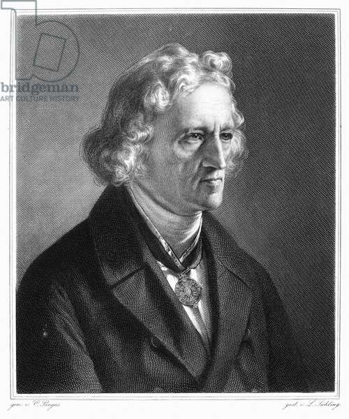 JACOB GRIMM (1785-1863) German philologist and folklorist. Steel engraving after a painting by Karl Begas.