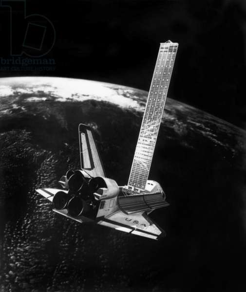 SPACE SHUTTLE: SOLAR PANEL A solar panel attached to a NASA Space Shuttle in orbit. Photograph, c.1985.
